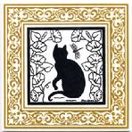 CA-10-G Garden Cat, Gold Victorian Border
