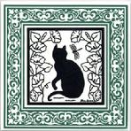 Whimsical Cat in a Garden of Morning Glories surrounded by a Victorian Border