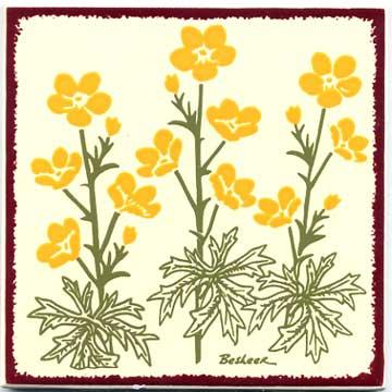 yellow buttercups tile, wall plaque, trivet, by Besheer Art Tile