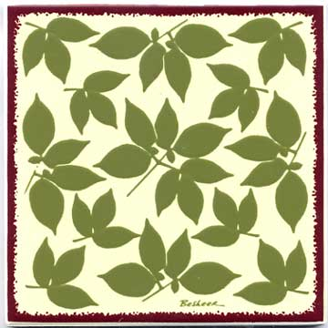 Botanical design as a tile, trivet, or wall plaque. Can be used in a kitchen backsplash or bathroom tile.